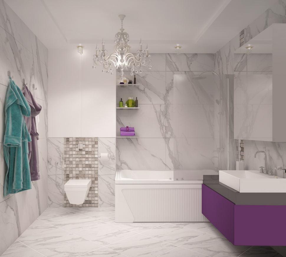 Визуализация ванной комнаты 9 кв.м, раковина, подвесная тумба, ванна, унитаз, светильники, люстра, мозаика, керамическая плитка