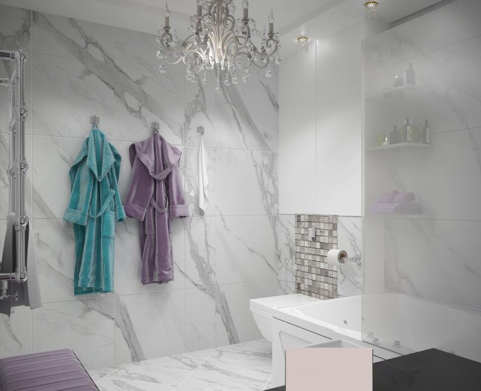 Ванная комната в белых тонах 9 кв.м, белый шкаф, мраморная плитка, унитаз, ванна