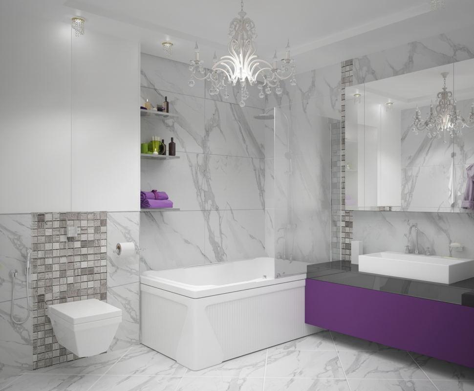 Дизайн-проект ванной комнаты в белых тонах 9 кв.м, ванна, фиолетовая тумба, раковина, зеркало, люстра, полки