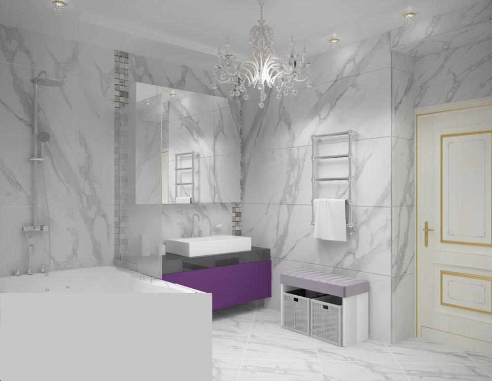 Визуализация ванной комнаты в светлых тонах 9 кв.м, фиолетовая тумба, люстра, ванна, зеркало, мраморная плитка