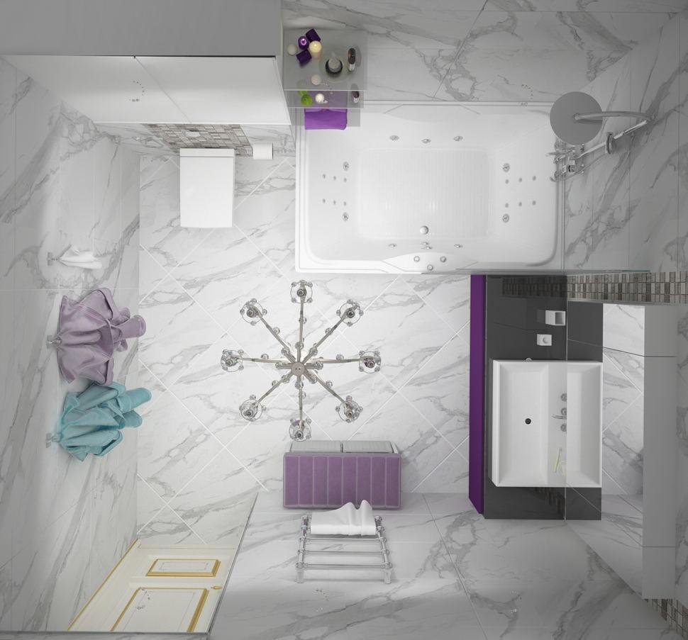 Проект ванной комнаты в белых тонах 9 кв.м, фиолетовая тумба, сушилка, плитка под мрамор, люстра, ванная