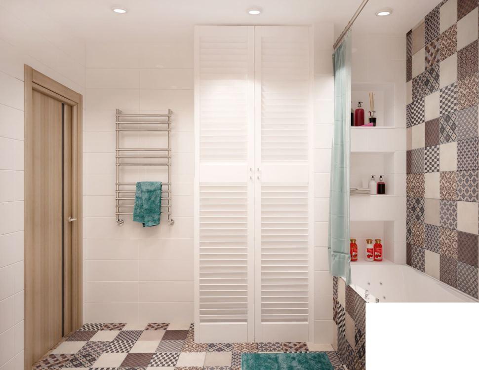 Интерьер ванной комнаты в теплых тонах 6 кв.м, полки, ванна, белый шкаф, сушилка, потолочные светильники, серая плитка