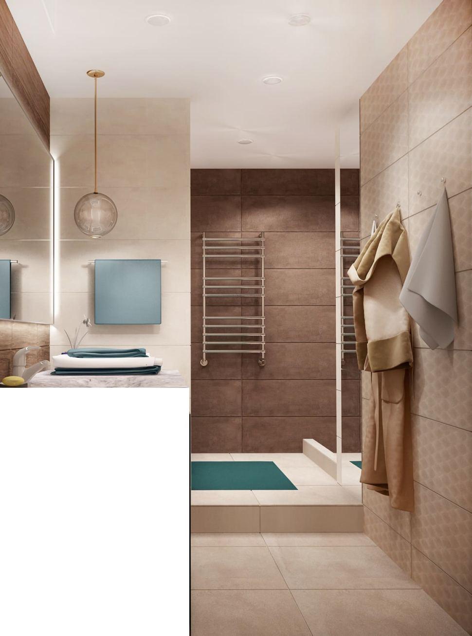 Визуализация ванной 7 кв.м в древесных тонах с бежевыми оттенками, зеркало, бежевая тумба, сушилка, раковина, подвесной светильник, ванная