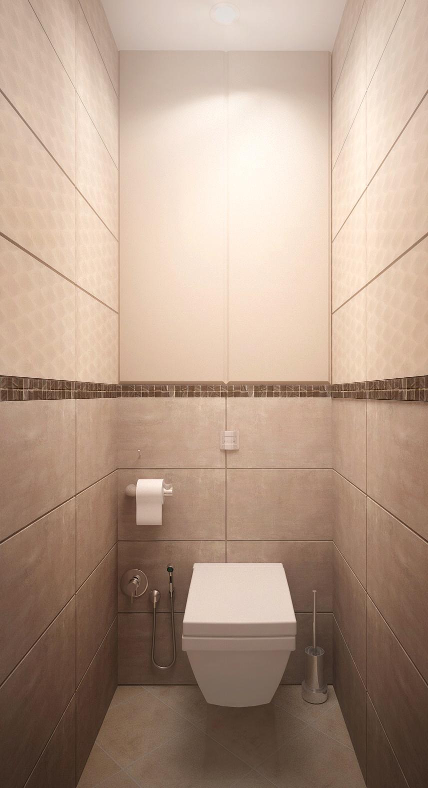 Дизайн-проект санузла в бежевых тонах 1 кв.м, унитаз, бежевая плитка, светильники