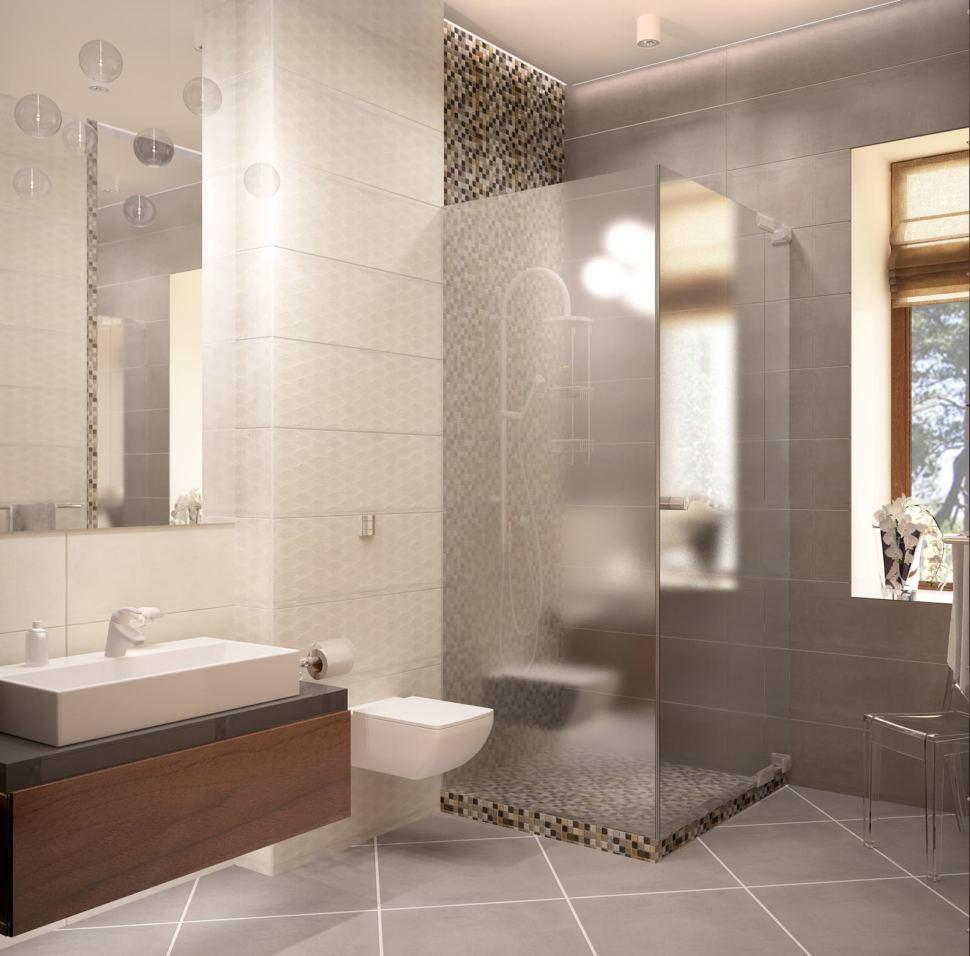 Дизайн-проект ванной с душевой 8 кв.м в коттедже с древесными оттенками, душевая кабинка, стул, зеркало, унитаз,тумба под дерево