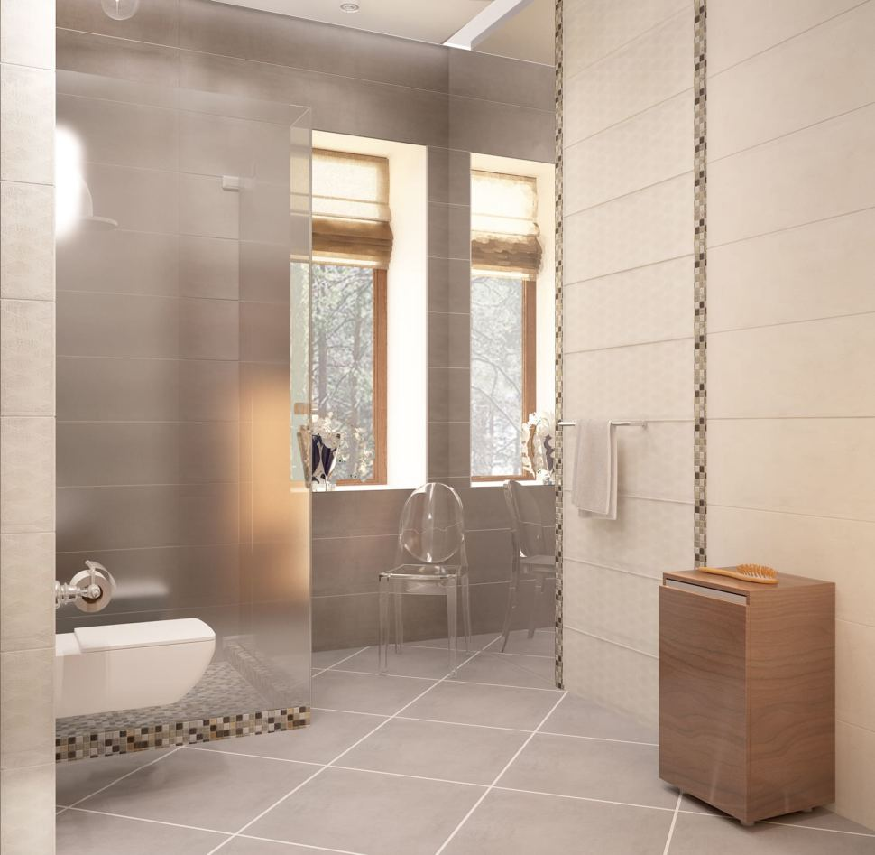 Дизайн интерьера ванной с душевой 8 кв.м в коттедже с серыми оттенками, душевая кабинка, зеркало,тумба под дерево, раковина