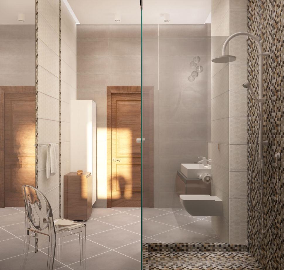 Визуализация ванной с душевой 8 кв.м в коттедже с бежевыми и шоколадными оттенками, душевая кабинка, зеркало, стул, унитаз