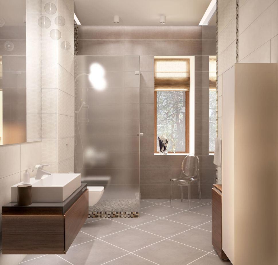 Дизайн-проект ванной с душевой 8 кв.м в коттедже с белыми оттенками, душевая кабинка, зеркало, раковина,тумба под дерево, белый шкаф