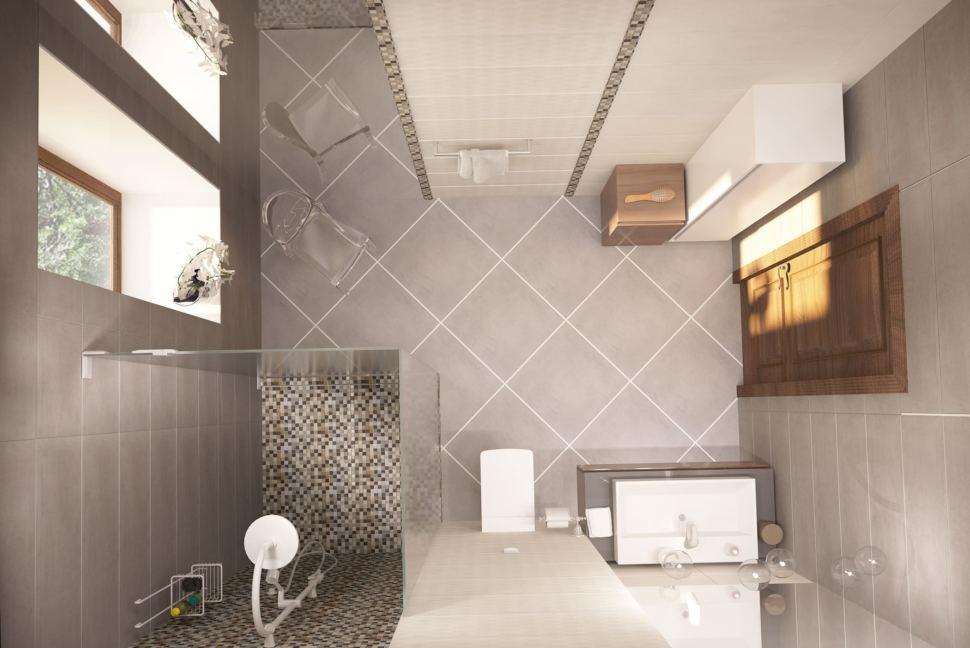 Дизайн интерьера ванной с душевой 8 кв.м в коттедже с молочными оттенками, душевая кабинка, зеркало, раковина, стул,тумба под дерево