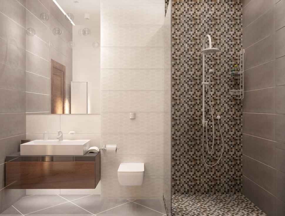 Визуализация ванной с душевой 8 кв.м в коттедже с древесными оттенками, душевая кабинка, зеркало, белый шкаф,тумба под дерево, унитаз