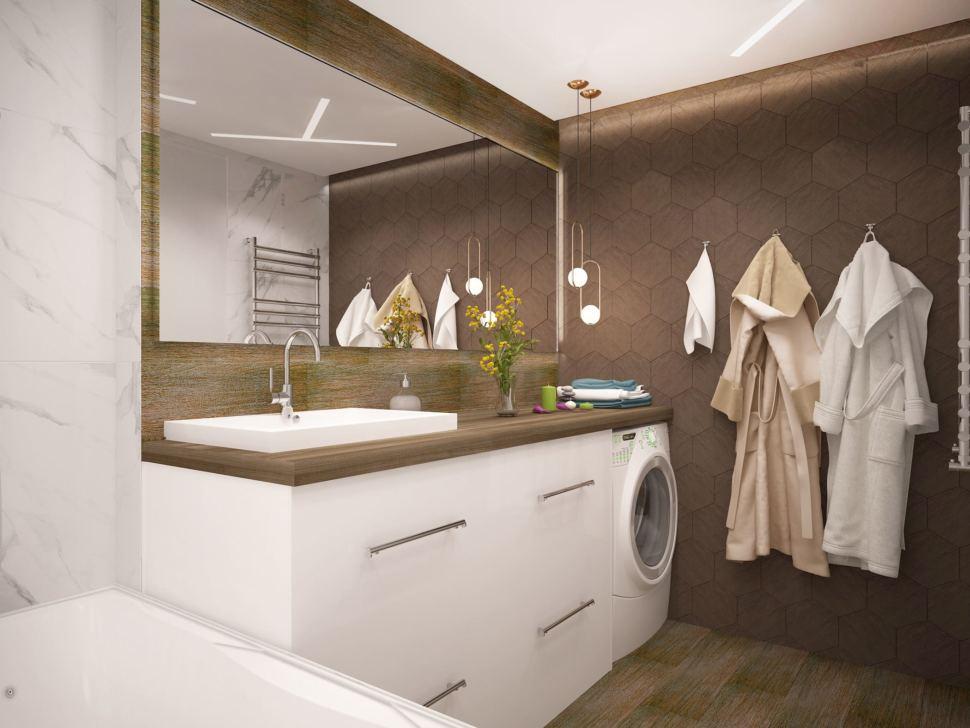 Визуализация ванной комнаты в белых и древесных тонах 6 кв.м, белая тумба, стиральная машинка, подвесные светильники, зеркало