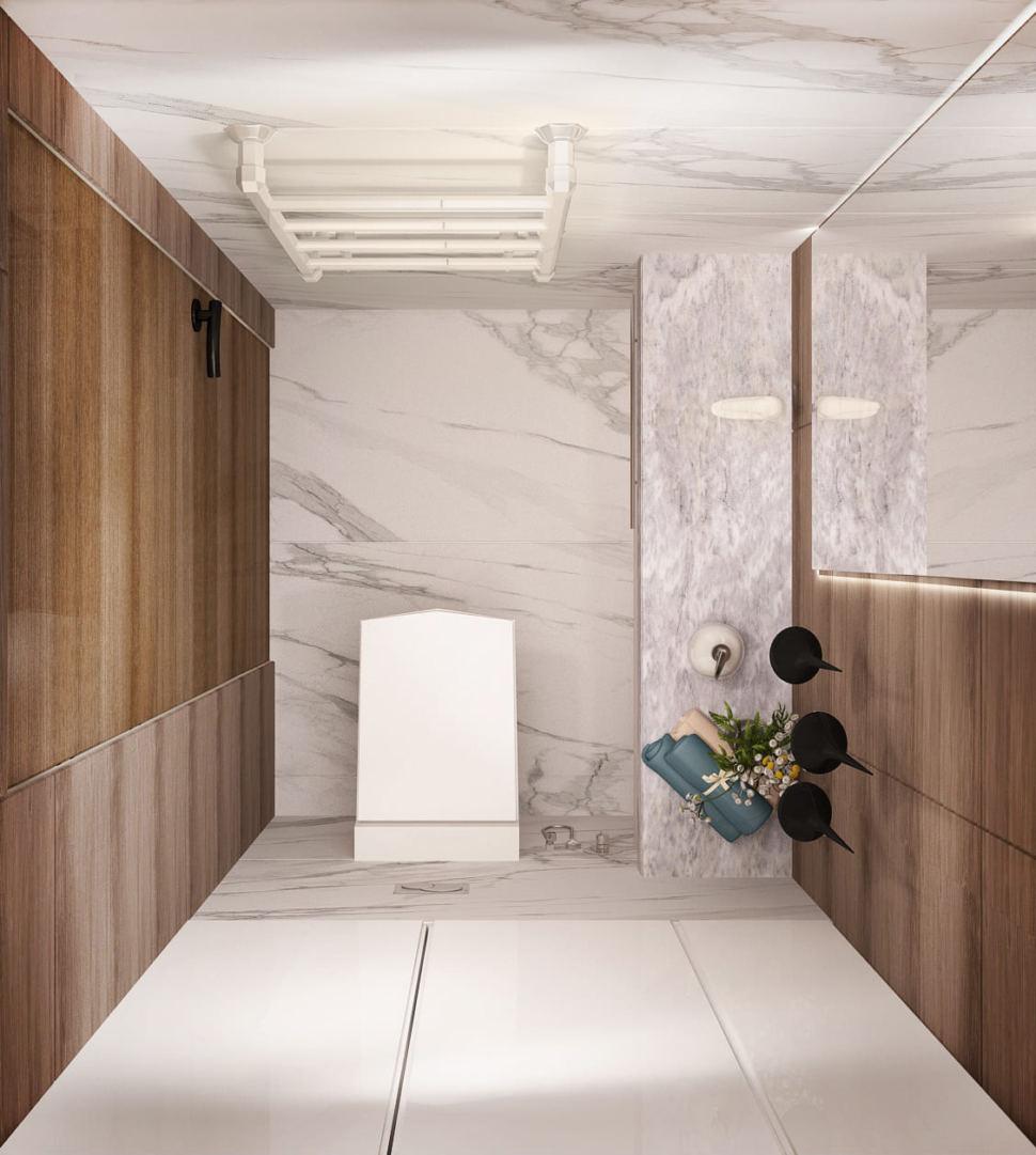 Дизайн-проект санузла 2 кв.м в древесных тонах с шоколадными оттенками, зеркало, подвесной светильник, плитка, унитаз, белая тумба
