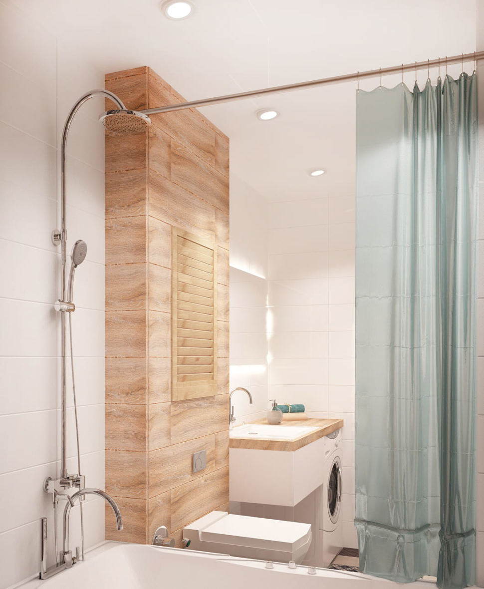 Визуализация ванной комнаты в теплых тонах 6 кв.м, ванна, стиральная машина, белая тумба, раковина, зеркало, потолочные светильники