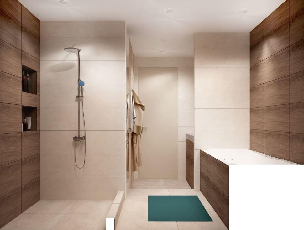 Дизайн-проект ванной 7 кв.м в древесных тонах с белыми оттенками, зеркало, бежевая тумба, сушилка, раковина, ванная