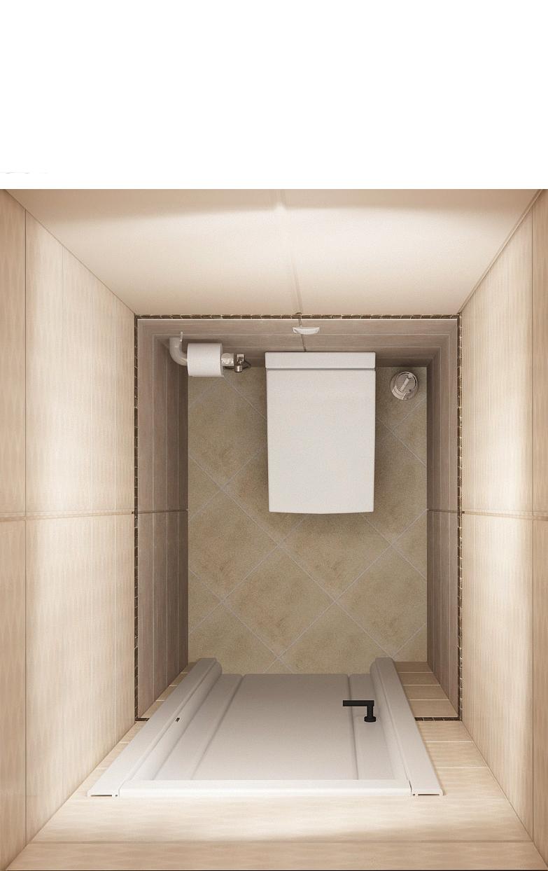 Визуализация санузла 1 кв.м, плитка, унитаз, светильники