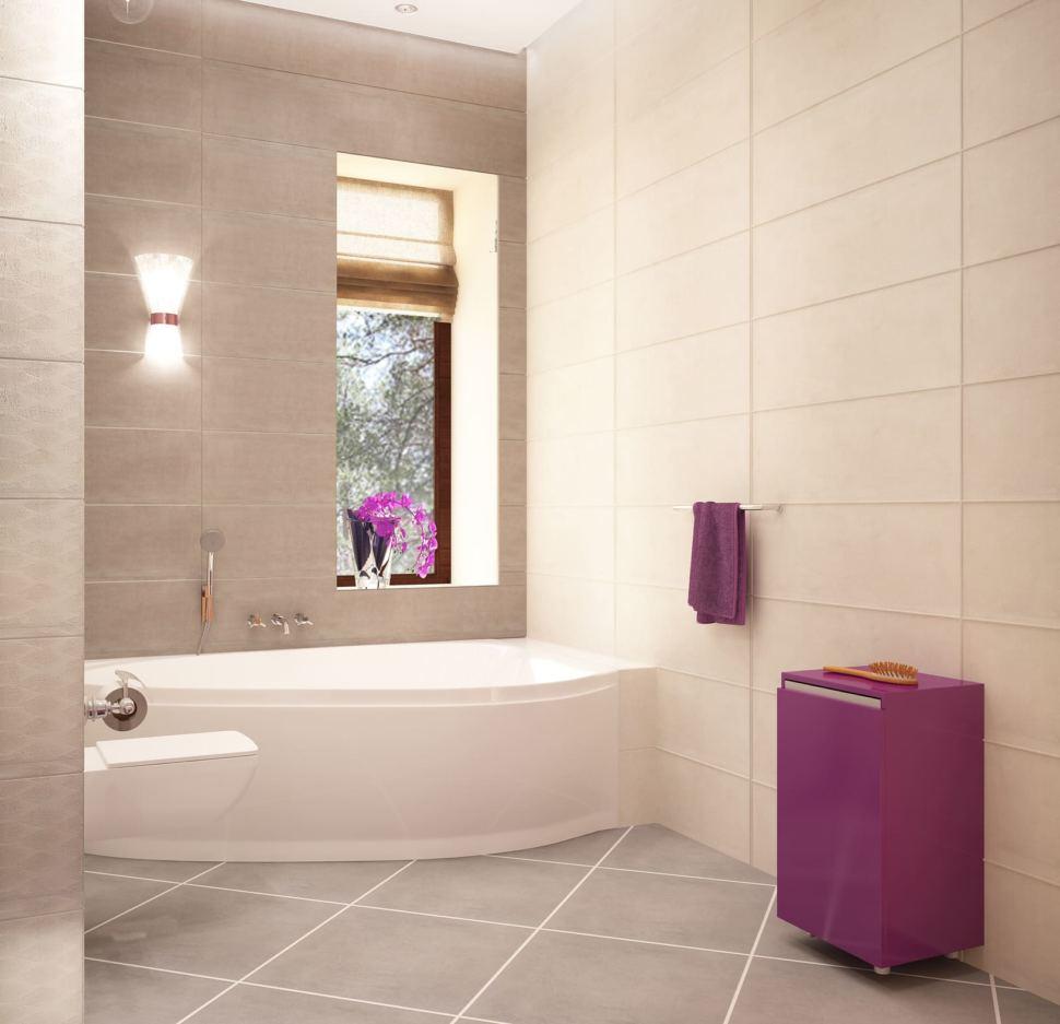 Дизайн ванной комнаты 8 кв.м, унитаз, белая ванная, комод, светильник