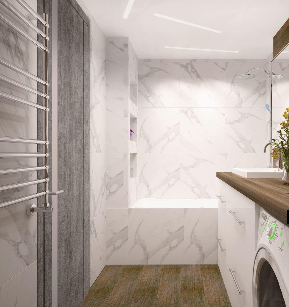 Дизайн ванной комнаты в белых и древесных тонах 6 кв.м, ванна, стиральная машинка, тумба, зеркало, сушилка, белая плитка под мрамор