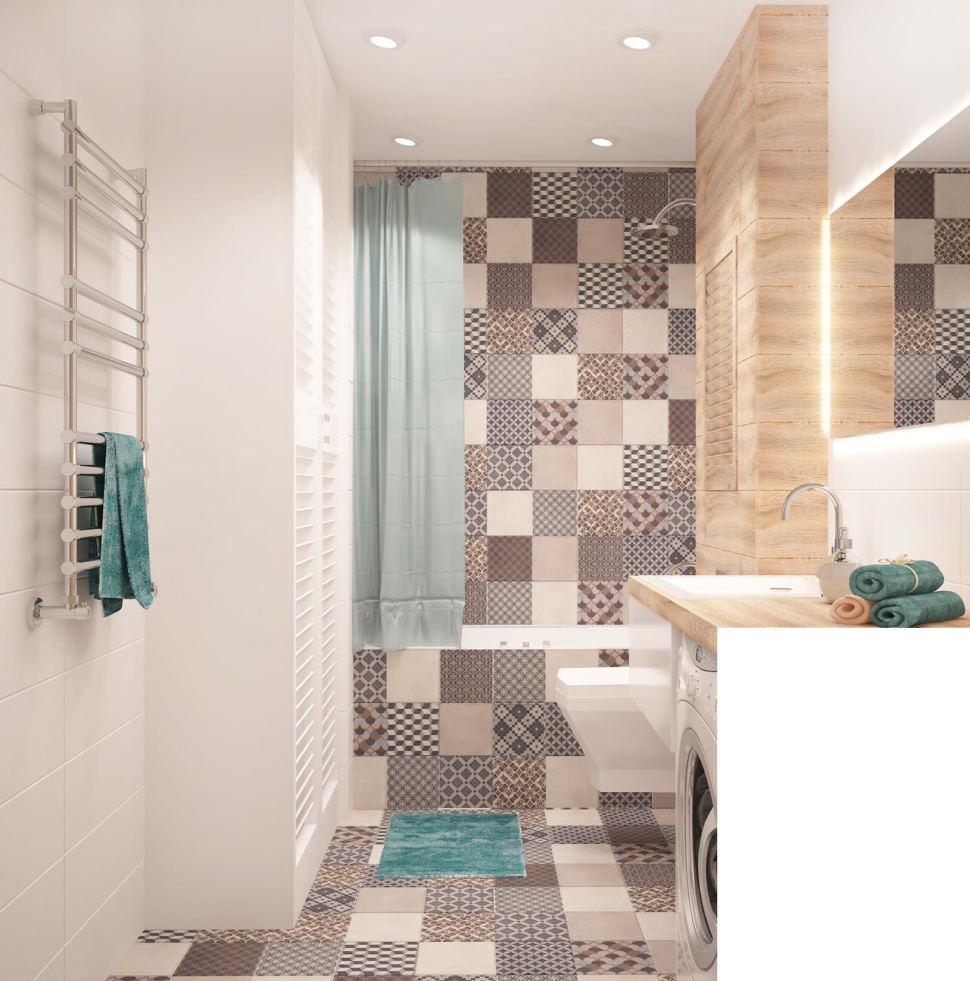 Дизайн интерьера ванной 6 кв.м в 2-х комнатной квартире с бежевыми оттенками, белая ванная, унитаз, геометрическая плитка, раковина, шкаф