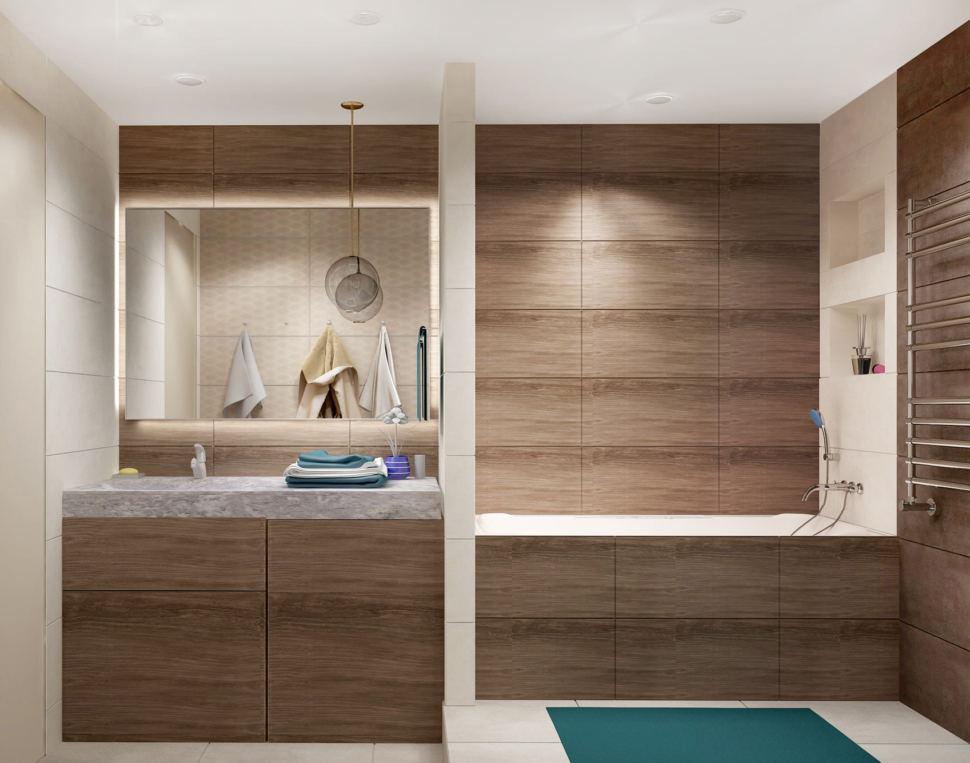 Визуализация ванной 7 кв.м в древесных тонах с бирюзовыми оттенками, зеркало, бежевая тумба, сушилка, раковина, ванная, душевая кабина