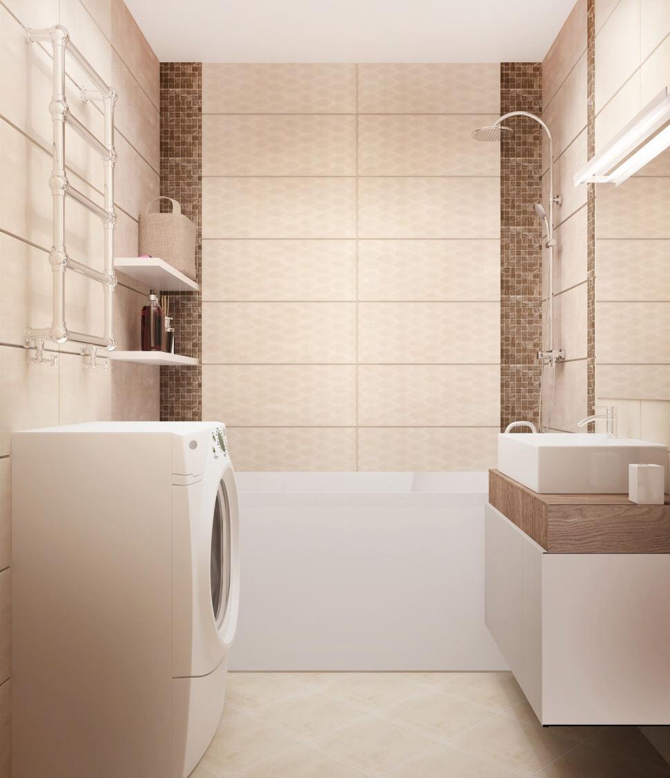 Визуализация ванной комнаты в белых тонах 3 кв.м, стиральная машинка, полки, белая подвесная полка, раковина, зеркало, плитка
