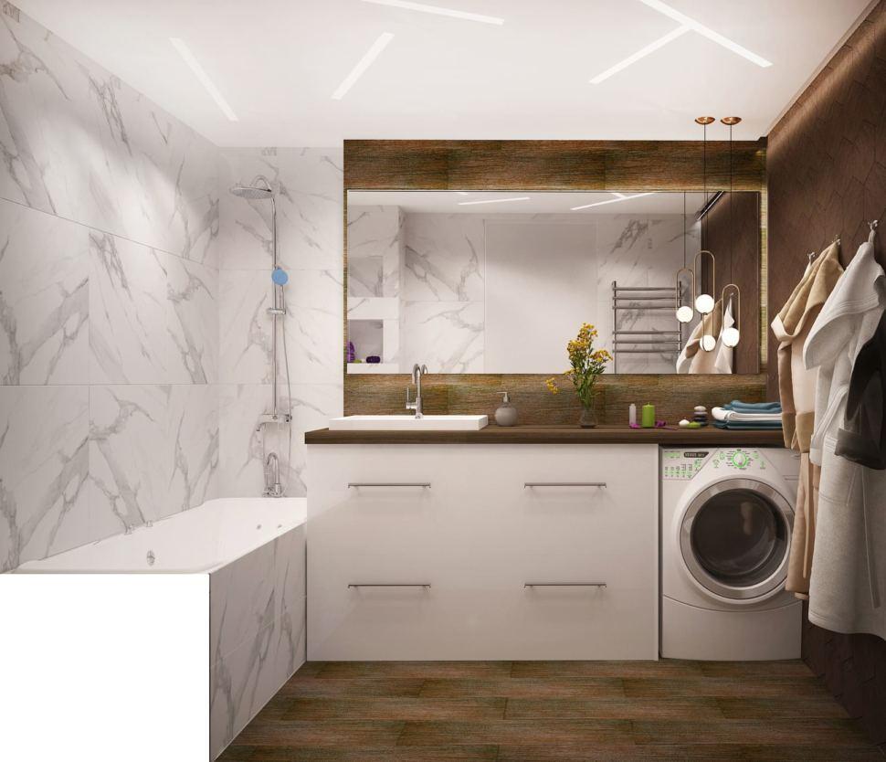 Дизайн интерьера ванной комнаты в белых и древесных тонах 6 кв.м, стиральная машинка, белая тумба, ванна, белая плитка под мрамор