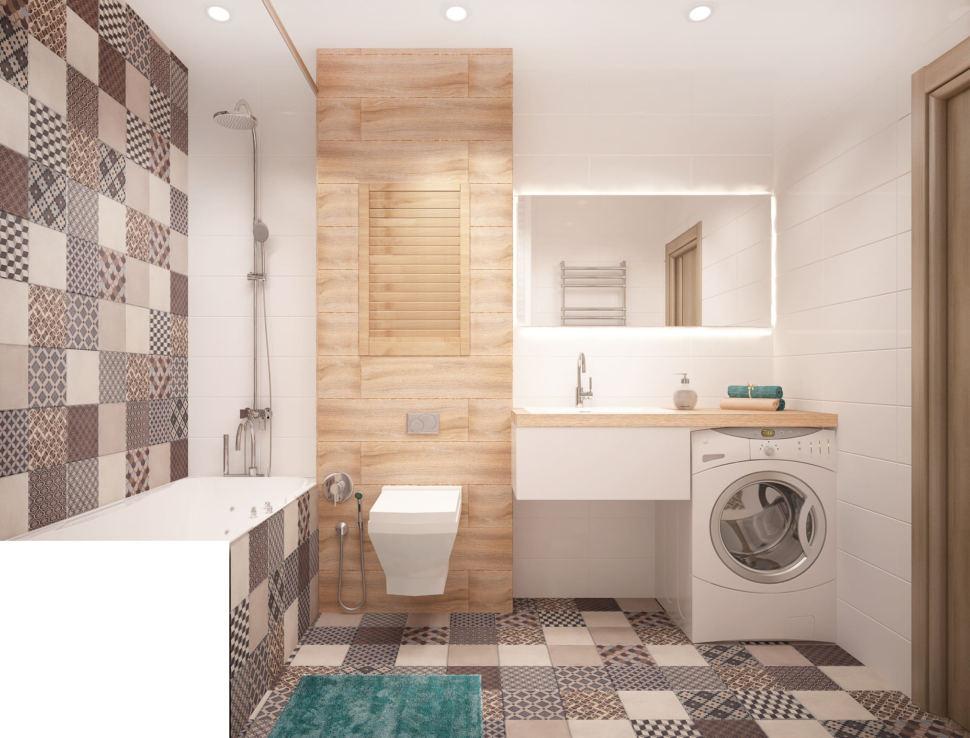 Дизайн интерьера ванной комнаты в теплых тонах 6 кв.м, унитаз, белая подвесная полка, стиральная машина, зеркало, серая плитка