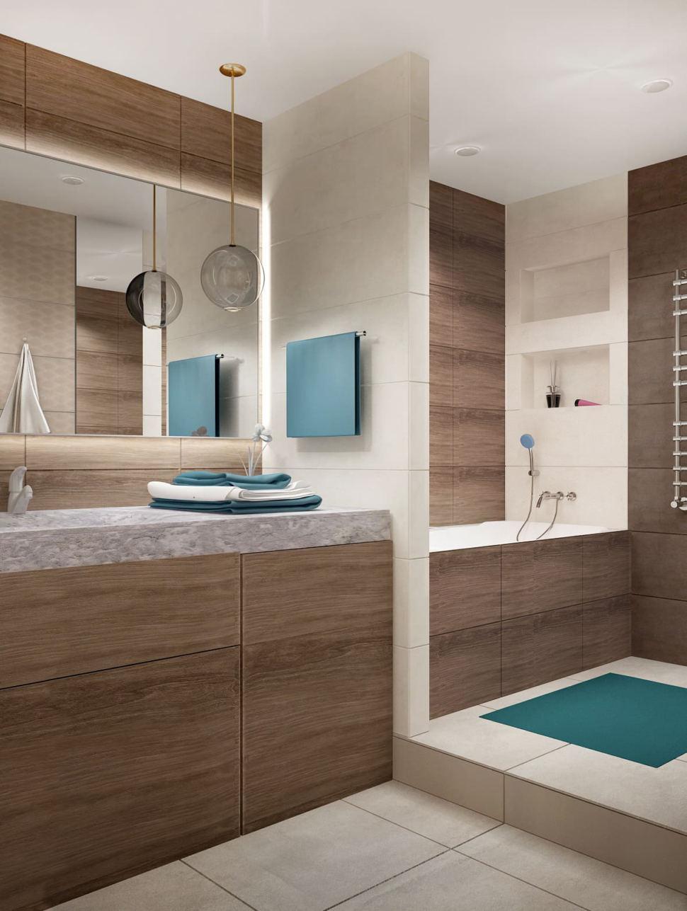 Дизайн интерьера ванной 7 кв.м в древесных тонах с шоколадными оттенками, зеркало, бежевая тумба, сушилка, раковина, душевая кабина