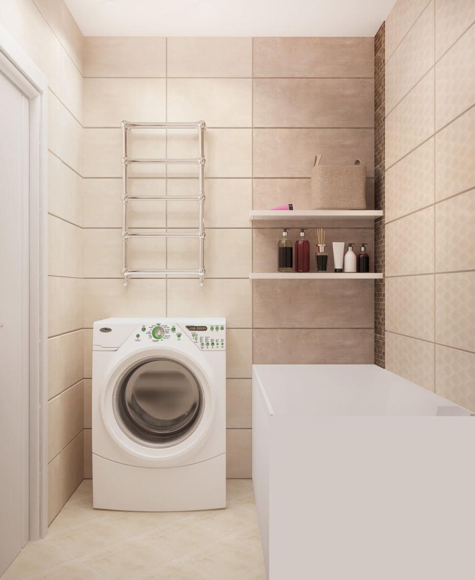 Дизайн интерьера ванной комнаты в белых тонах 3 кв.м, стиральная машинка, ванна, полки, сушилка, плитка, светильники