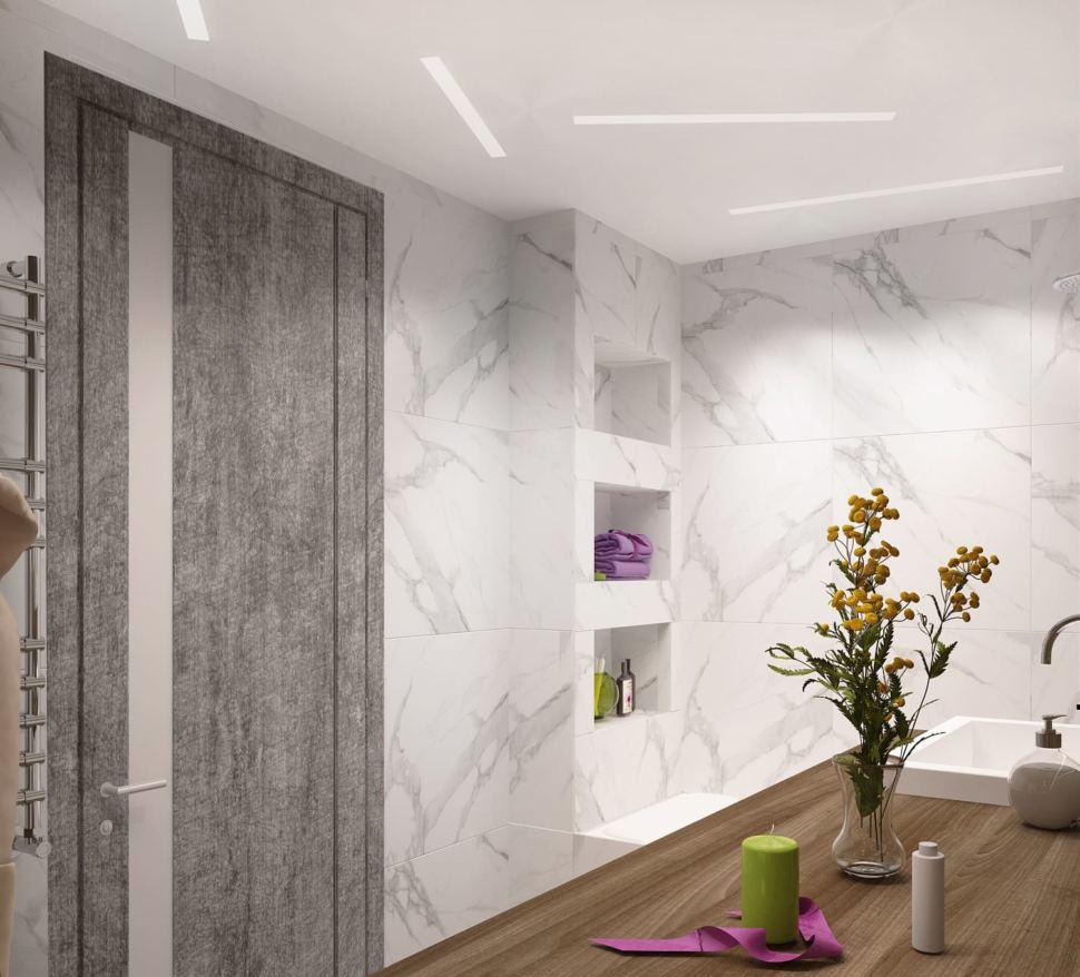 Дизайн-проект ванной комнаты в белых и древесных тонах 6 кв.м, полки, раковина, столешница, белая плитка под мрамор