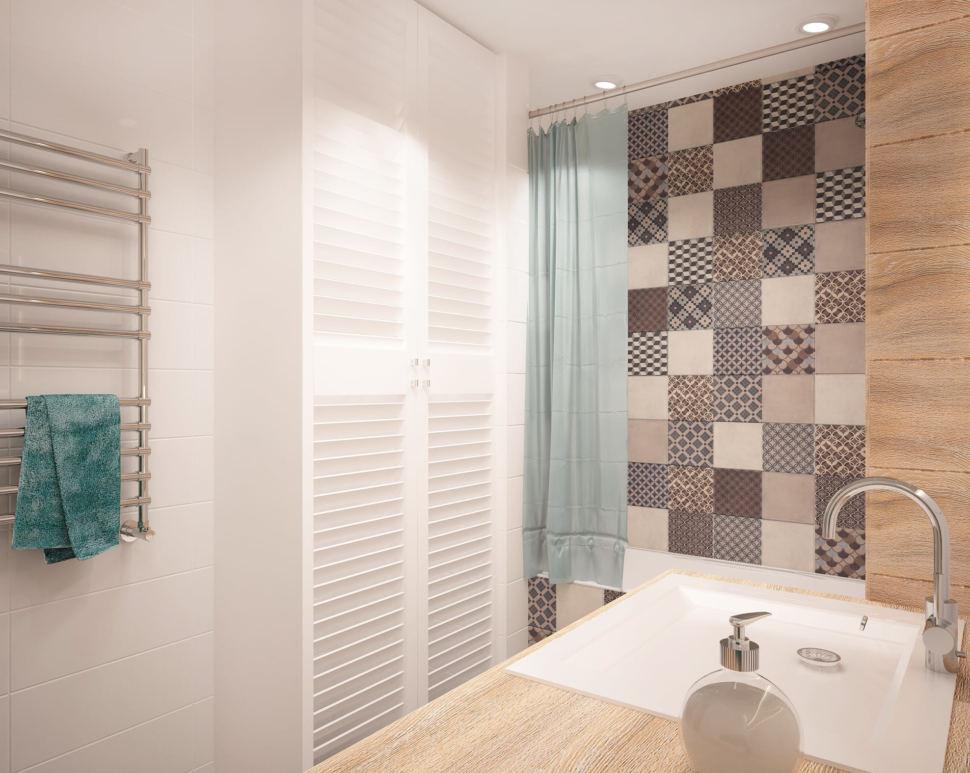 Дизайн-проект ванной комнаты в теплых тонах 6 кв.м, белый шкаф, ванна, раковина, столешница, серая плитка с орнаментом
