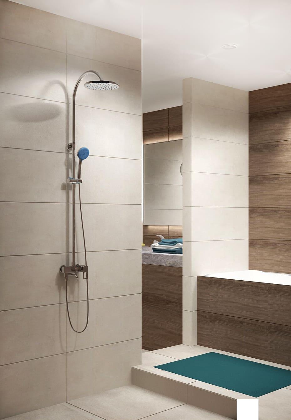 Дизайн интерьера ванной 7 кв.м в древесных тонах с бежевыми оттенками, зеркало, бежевая тумба, сушилка, раковина, подвесной светильник