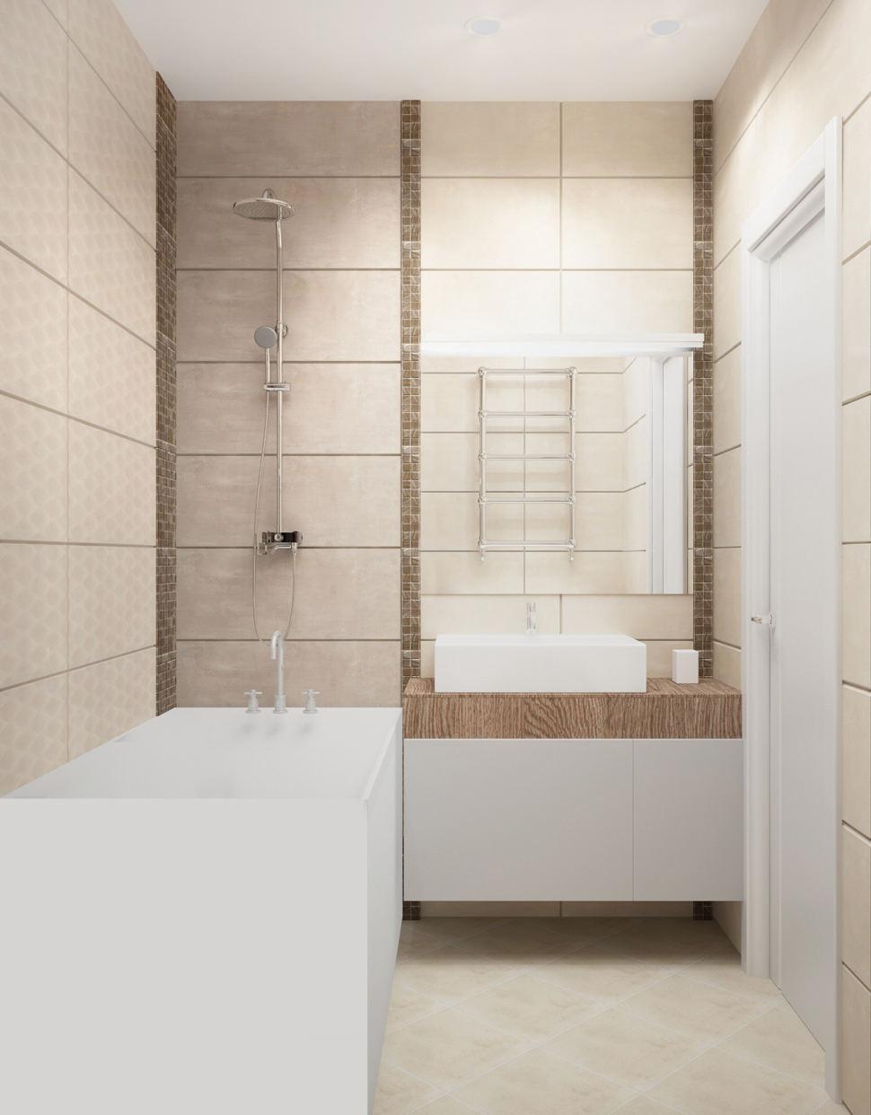 Дизайн-проект ванной комнаты в белых тонах 3 кв.м, ванна, душ, белая подвесная тумба, раковина, зеркало, плитка