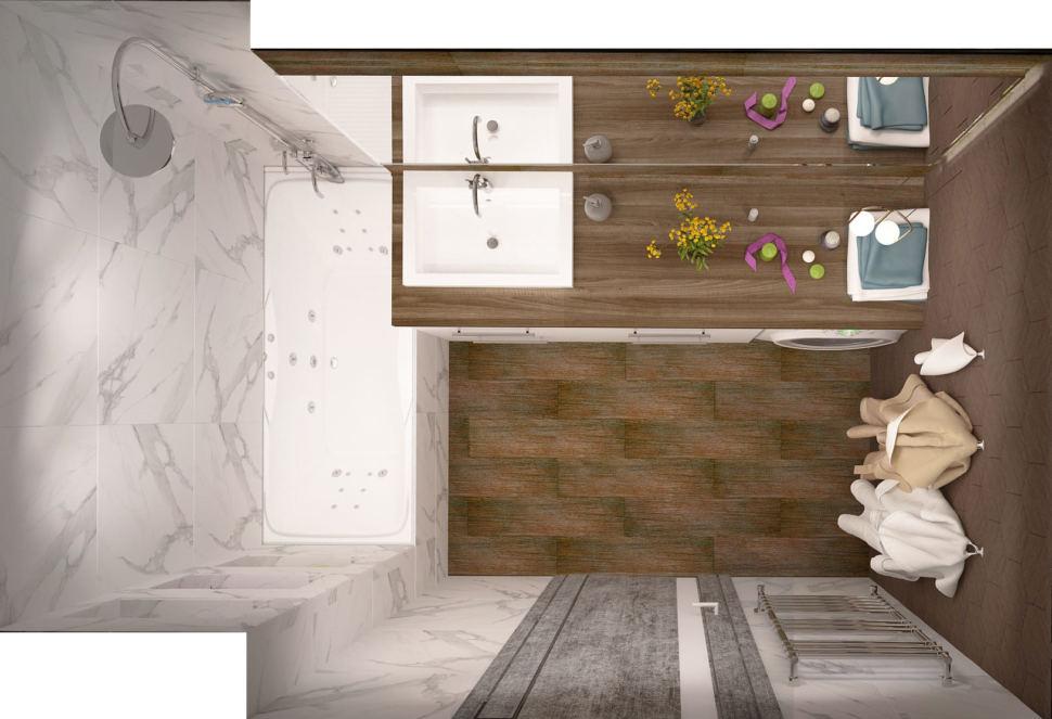 Визуализация ванной комнаты в белых и древесных тонах 6 кв.м, ванна, раковина, белая тумба, стиральная машина, сушилка, зеркало