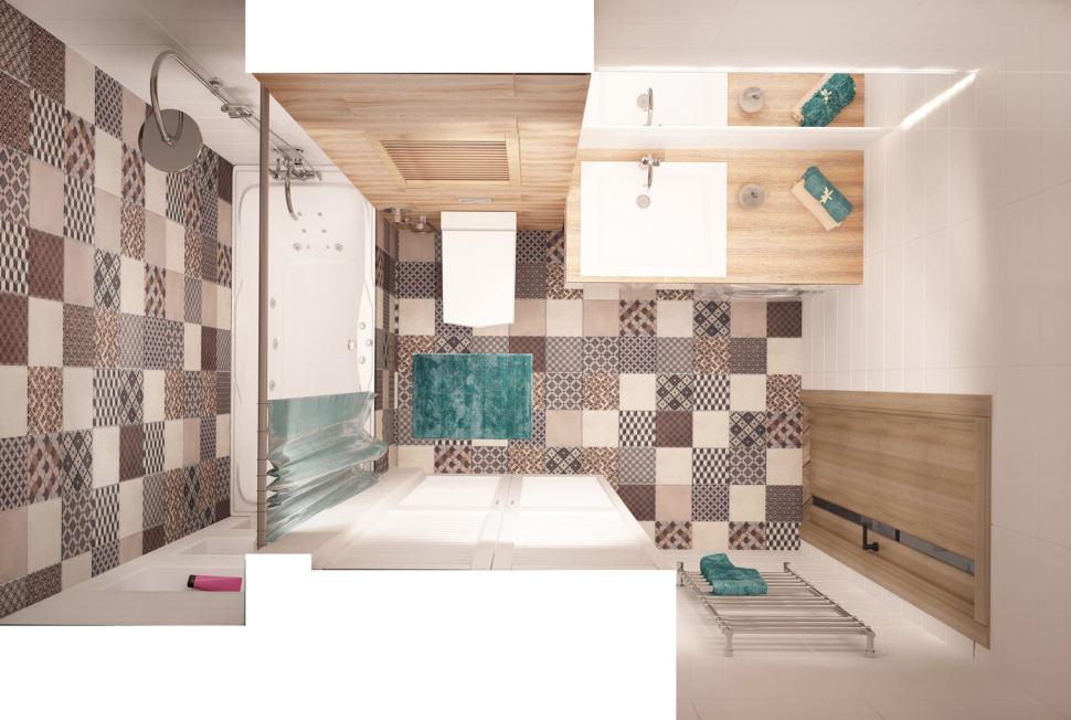 Дизайн-проект ванной 6 кв.м в 2-х комнатной квартире с древесными оттенками, белая ванная, унитаз, геометрическая плитка, раковина, зеркало