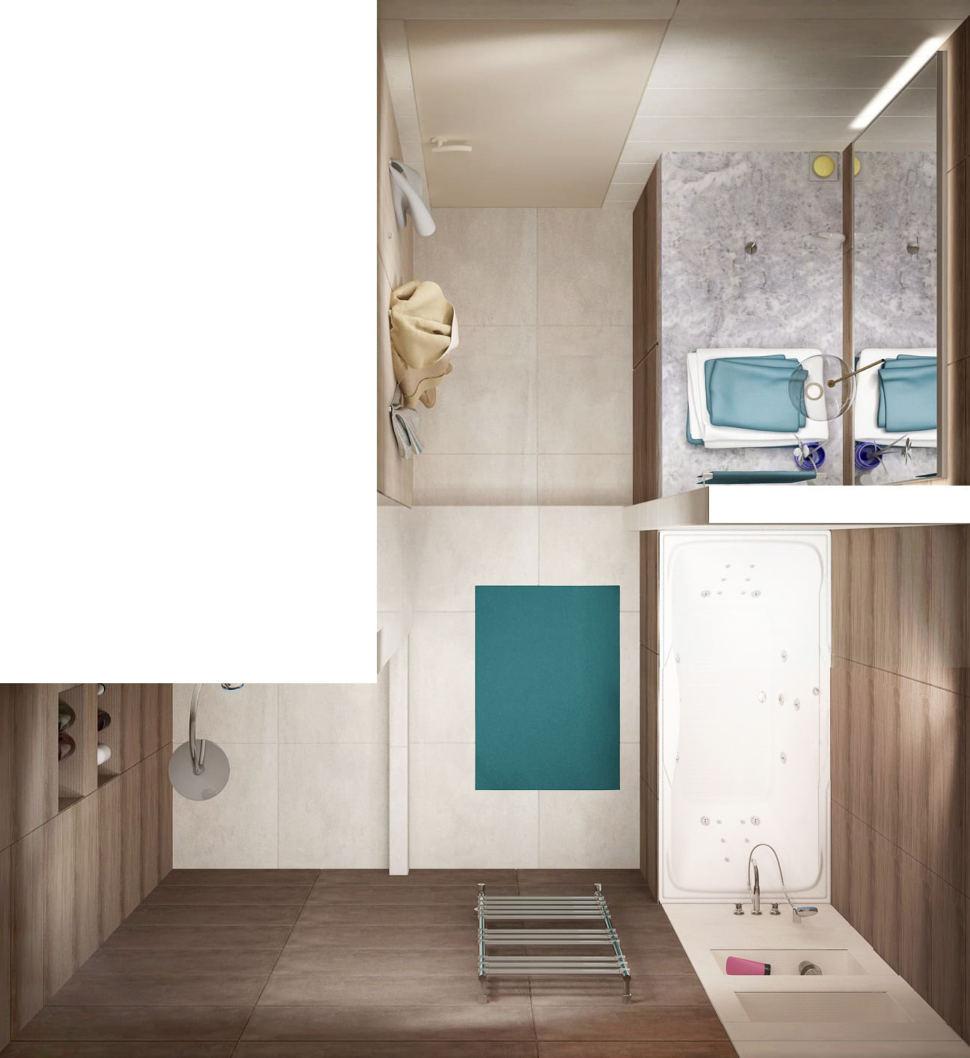 Дизайн-проект ванной 7 кв.м в древесных тонах с белыми оттенками, зеркало, бежевая тумба, сушилка, душевая кабина, раковина