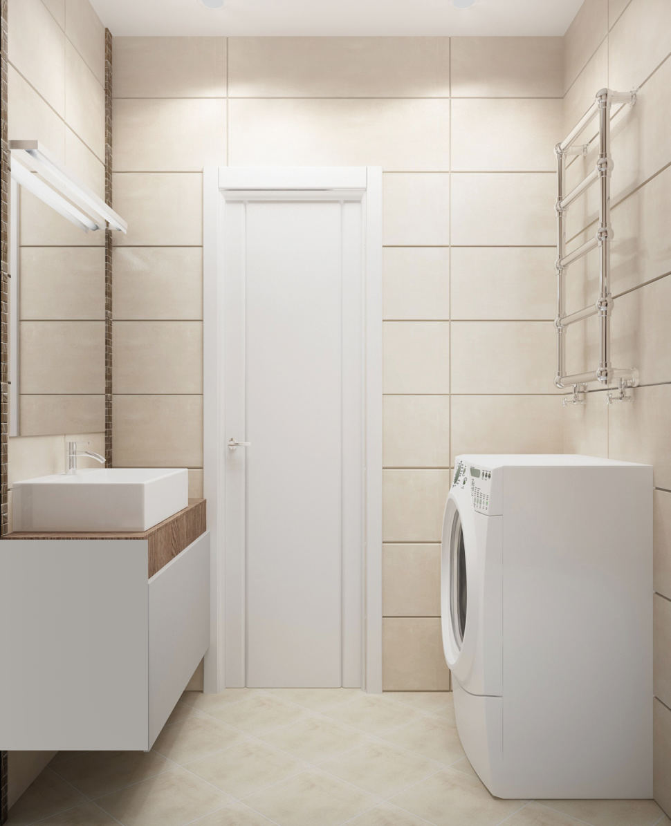 Визуализация ванной комнаты в белых тонах 3 кв.м, стиральная машинка, белая тумба, раковина, зеркало, сушилка