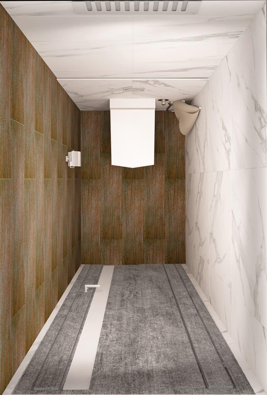 Дизайн-проект санузла в белых тонах 2 кв.м, плитка под мрамор, анитаз, потолочные светильники