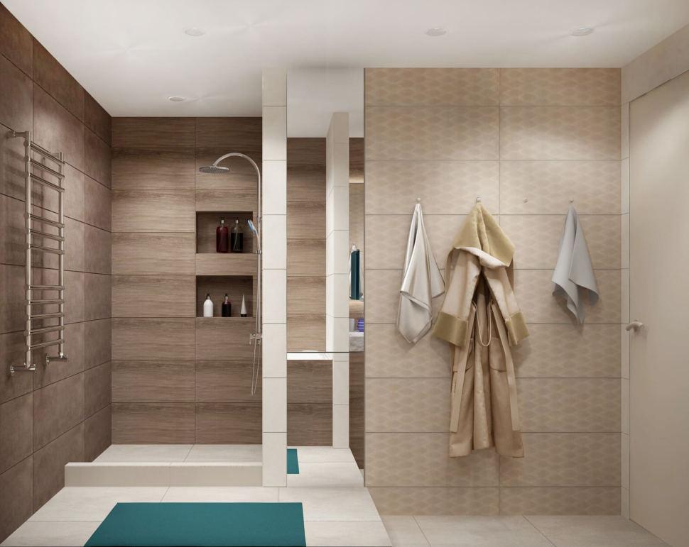 Дизайн интерьера ванной 7 кв.м в древесных тонах с шоколадными оттенками, зеркало, бежевая тумба, сушилка, душевая кабина, раковина