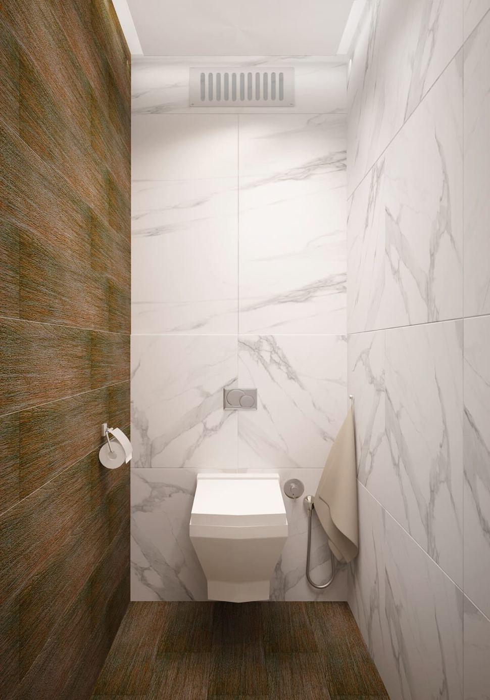 Визуализация санузла в белых тонах 2 кв.м, белая плитка под мрамор, унитаз, ламинат, светильники