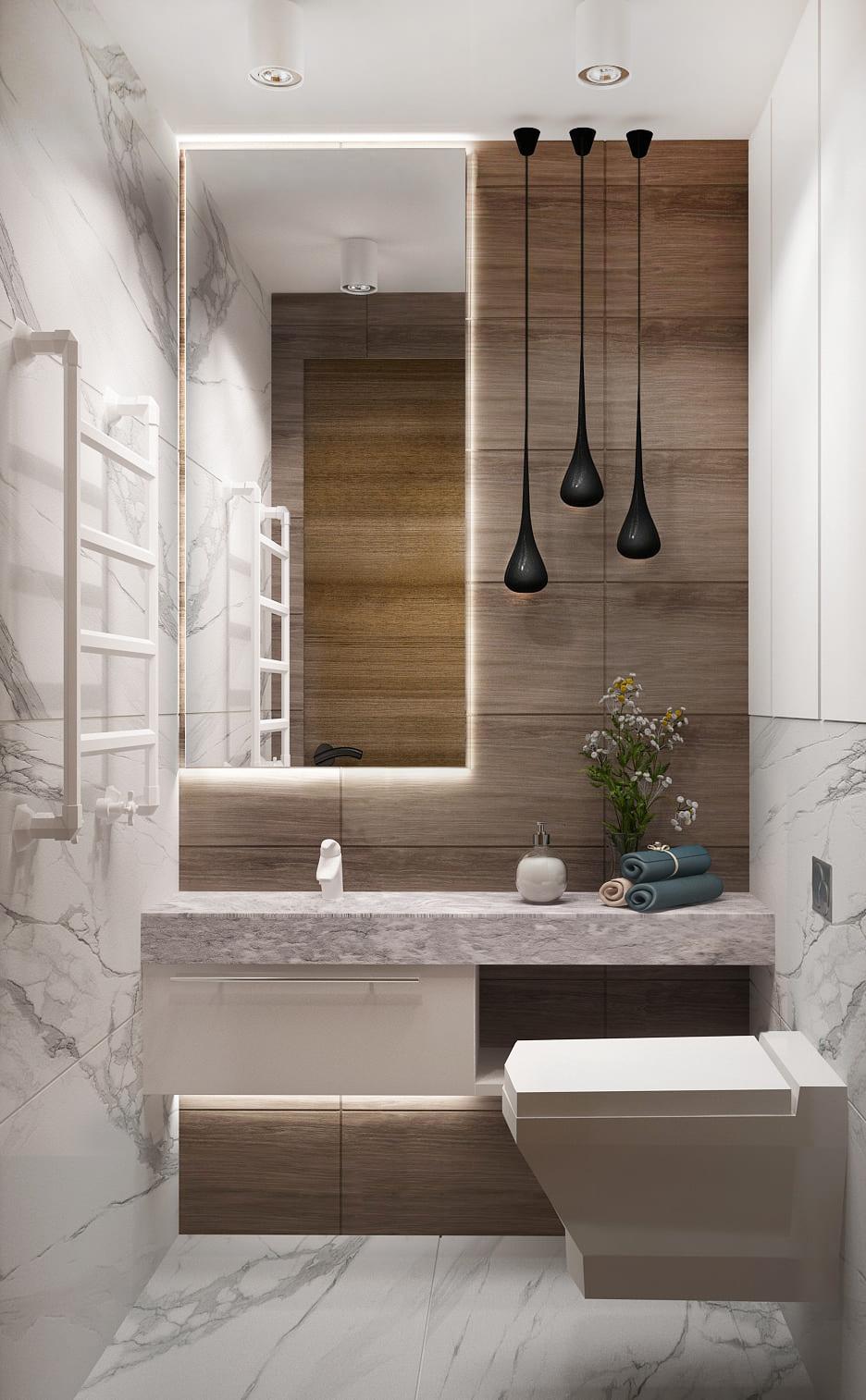 Дизайн-проект санузла 2 кв.м, плитка под мрамор, подвесные светильники, зеркало, полотенцесушитель, керамический гранит под дерево