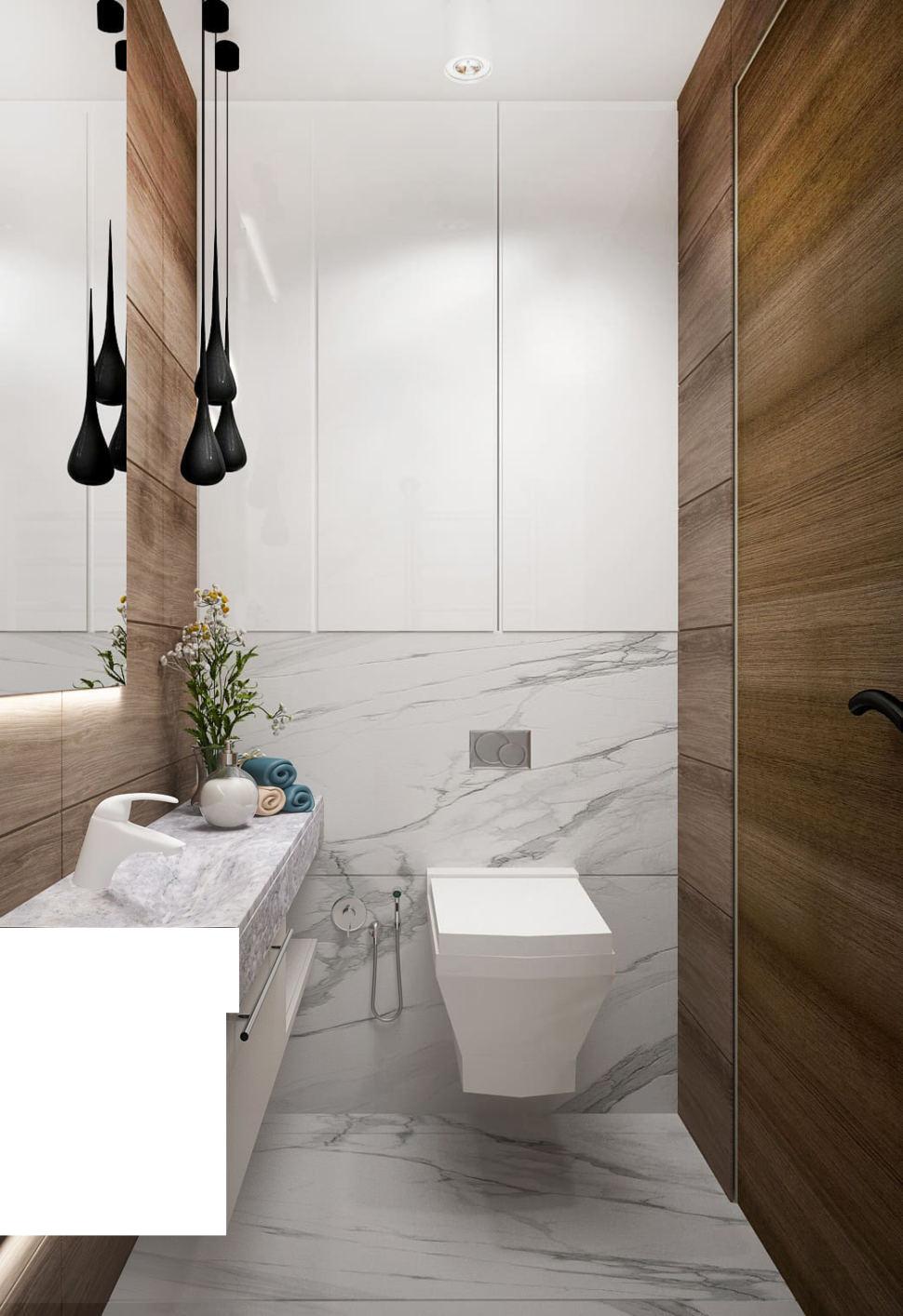 Дизайн интерьера санузла 2 кв.м в древесных тонах с белыми оттенками, зеркало, подвесной светильник, плитка, раковина, белая тумба, унитаз
