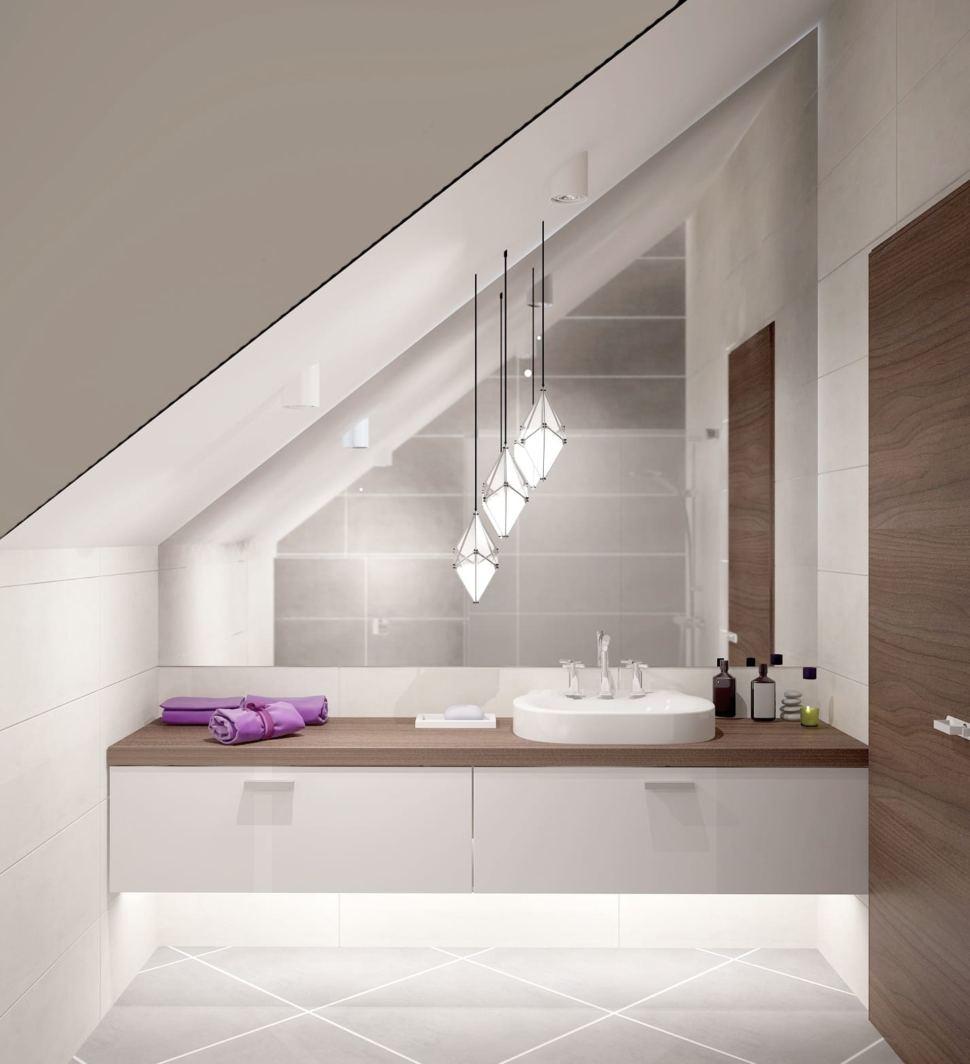 Дизайн санузла 8 кв.м с фиолетовыми оттенками, зеркало, раковина, белый комод, подвесной светильник