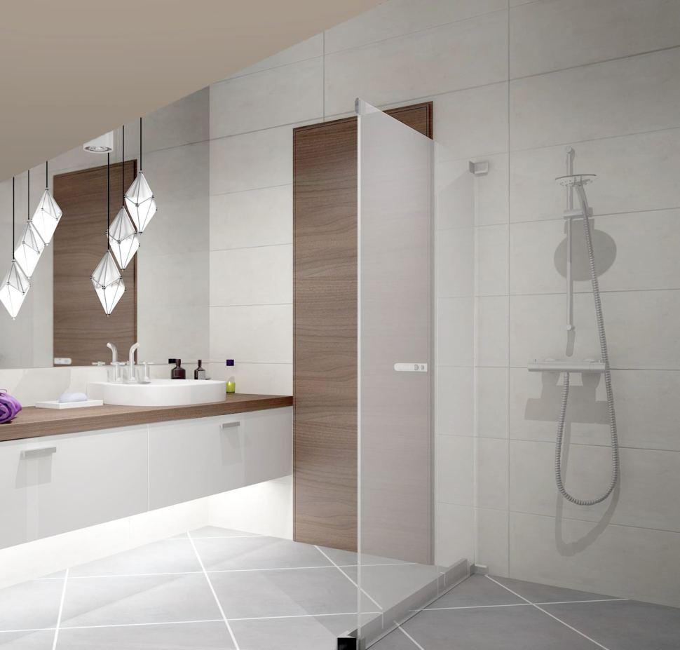 Дизайн санузла 8 кв.м в светлых тонах, зеркало, подвесной светильник, белый комод, раковина, душевая кабина