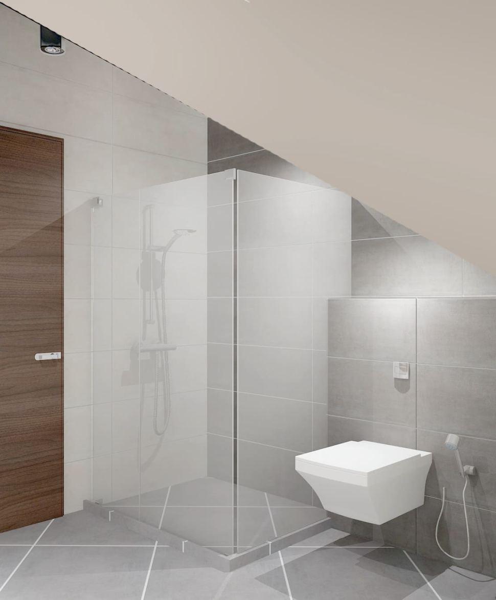 Дизайн санузла 8 кв.м в белых тонах, душевая кабина, подвесной унитаз, светильник, серая плитка