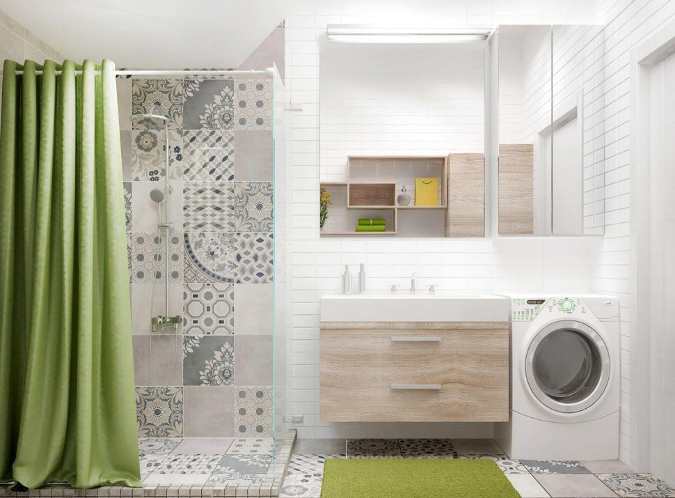 Визуализация санузла 6 кв.м с душевой кабинкой с бежевыми оттенками, полки, тумба под дерево, стиральная машинка, раковина, зеркало