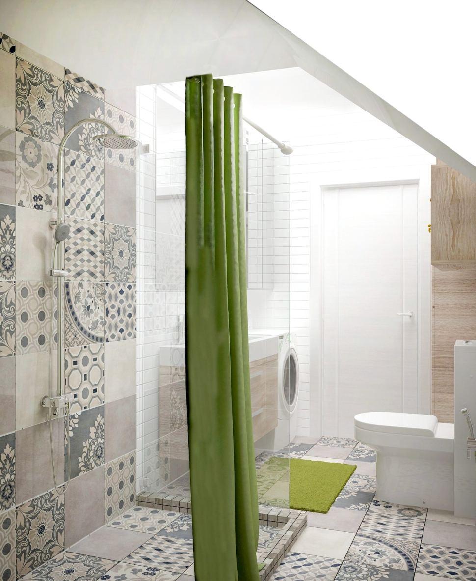 Дизайн санузла 6 кв.м с зеленными акцентами, душевая кабина, стиральная машинка, унитаз, бежевая тумба