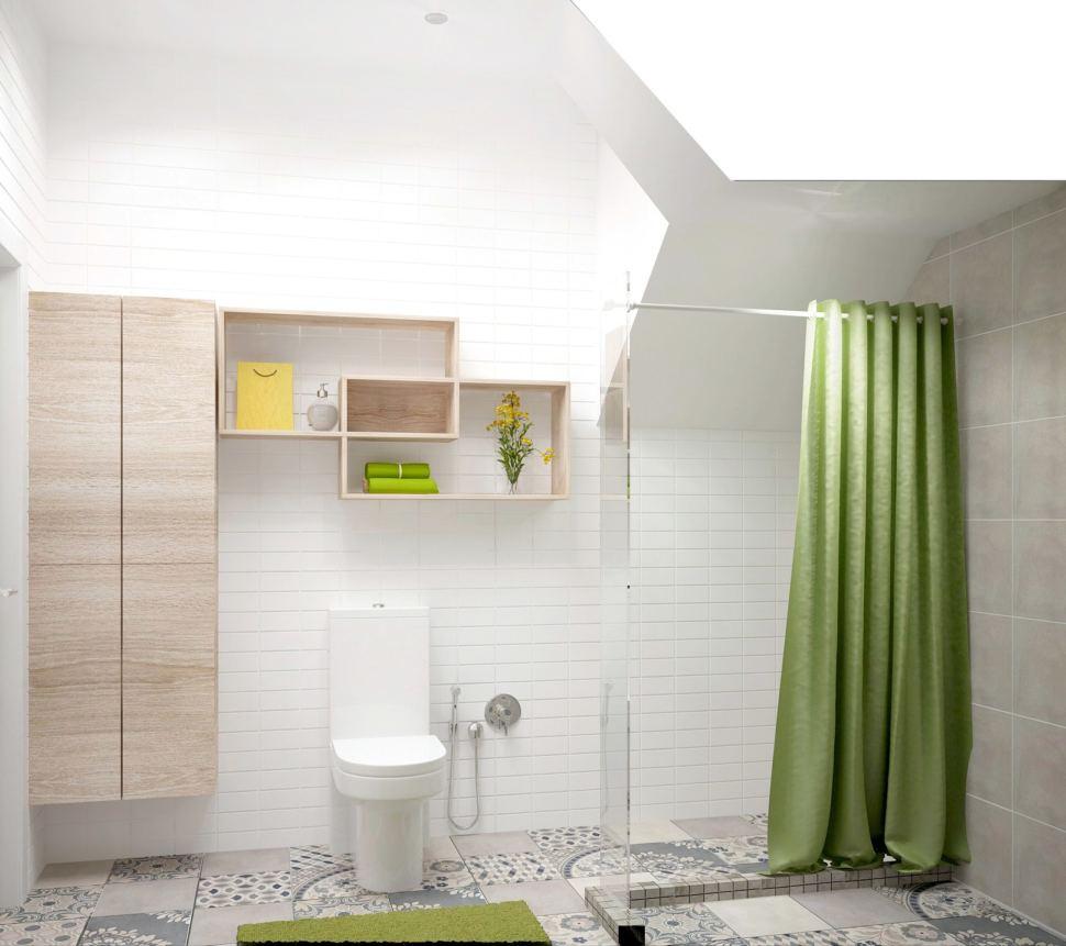 Визуализация санузла 6 кв.м с душевой кабинкой с белыми оттенками, полки, тумба под дерево, стиральная машинка, раковина, зеркало
