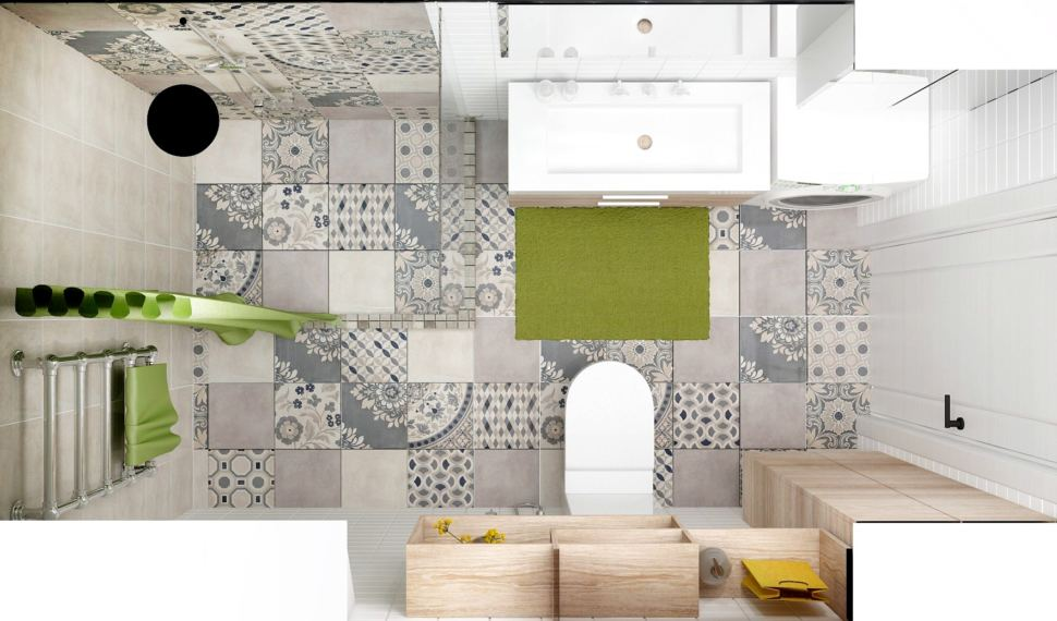 Дизайн-проект санузла 6 кв.м с душевой кабинкой с серыми и зелеными оттенками, полки, тумба под дерево, стиральная машинка, раковина