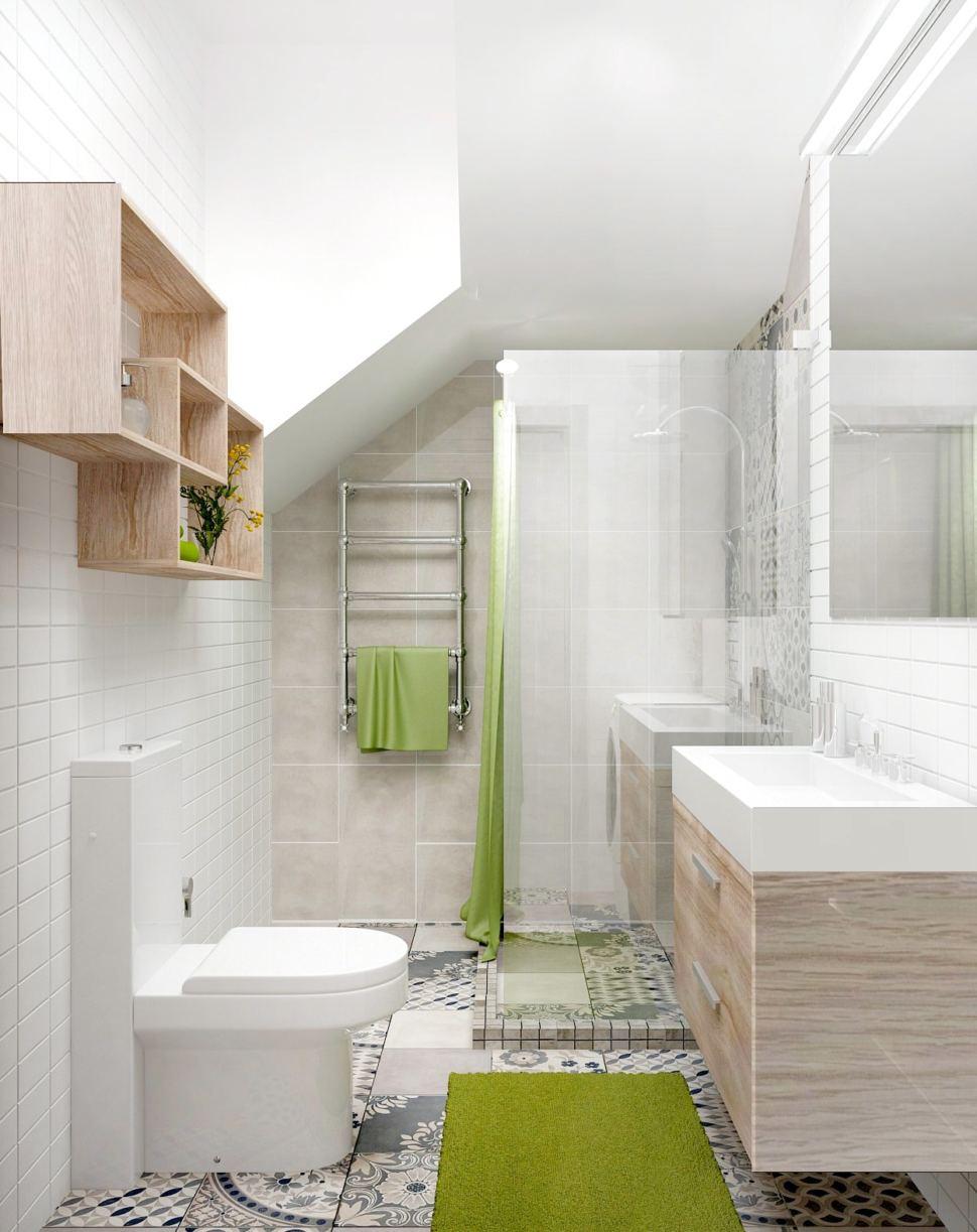 Дизайн-проект санузла 6 кв.м с душевой кабинкой с белыми оттенками, полки, тумба под дерево, зеркало, раковина, зеленая шторка