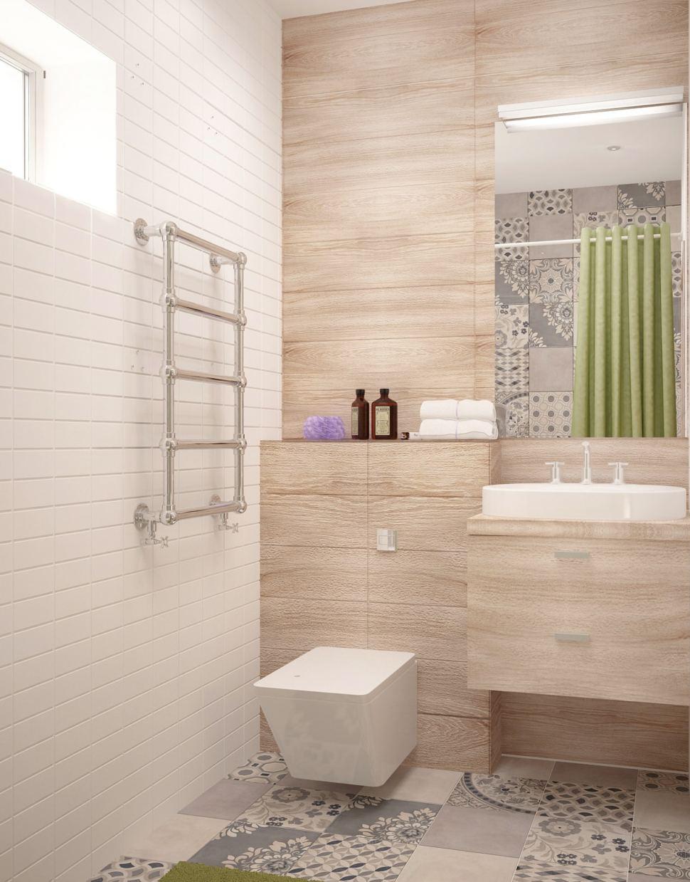 Дизайн интерьера совмещённого санузла с ванной комнатой 5 кв.м с древесными оттенками, бежевая тумба, раковина, ванная, душ